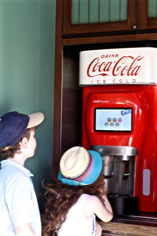 This Coca-cola freestyle refreshment stand is located in the Grizzly Peak area of Disney California Adventure